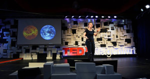 Katja Poppenhaeger giving TEDx talk at Klagenfurt